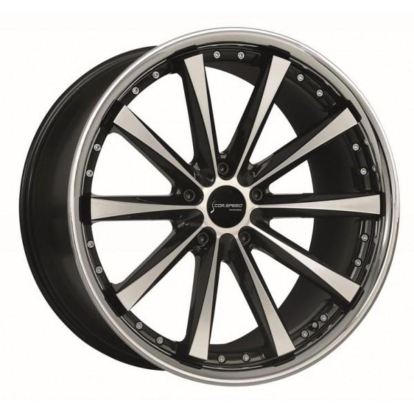 Диск литой R18 CorSpeed Arrows HiGloss Black Polished inox lip 8x18 5x112