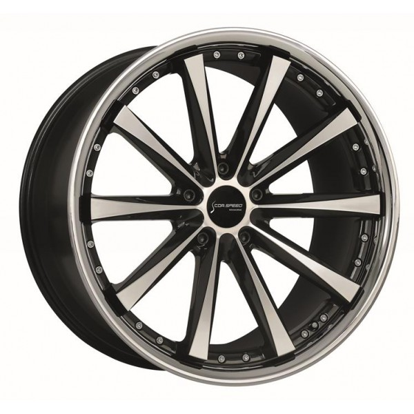 Диск литой R18 CorSpeed Arrows HiGloss Black Polished inox lip 9x18 5x120