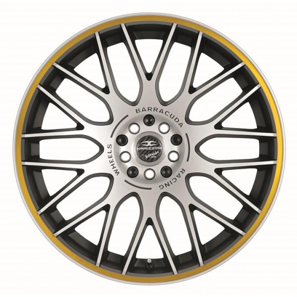 Диск литой R17 Barracuda Karizzma MattBlack Polished / Color Trim Gelb 7,5x17 4x108